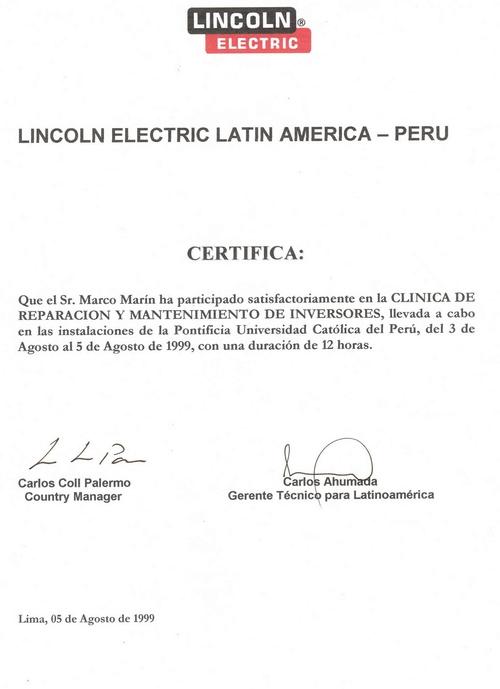 Certificacion Emitida: Lincoln Electric Latin America-PERU-1999