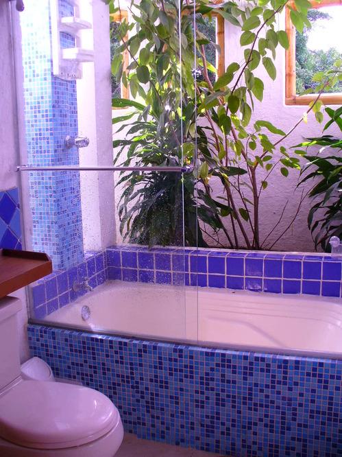 Banheira com um jardim interior
